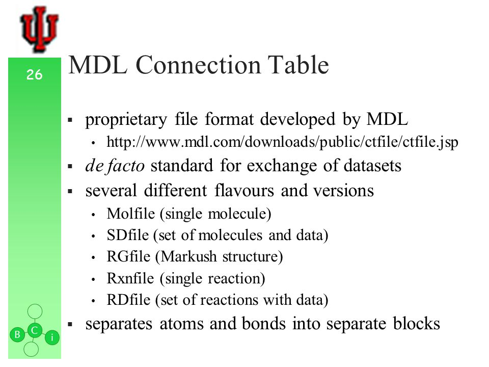 26 MDL Connection Table proprietary file format developed by MDL http://www.mdl.com/downloads/public/ctfile/ctfile.jsp de facto standard for exchange of datasets several different flavours and versions Molfile (single molecule) SDfile (set of molecules and data) RGfile (Markush structure) Rxnfile (single reaction) RDfile (set of reactions with data) separates atoms and bonds into separate blocks