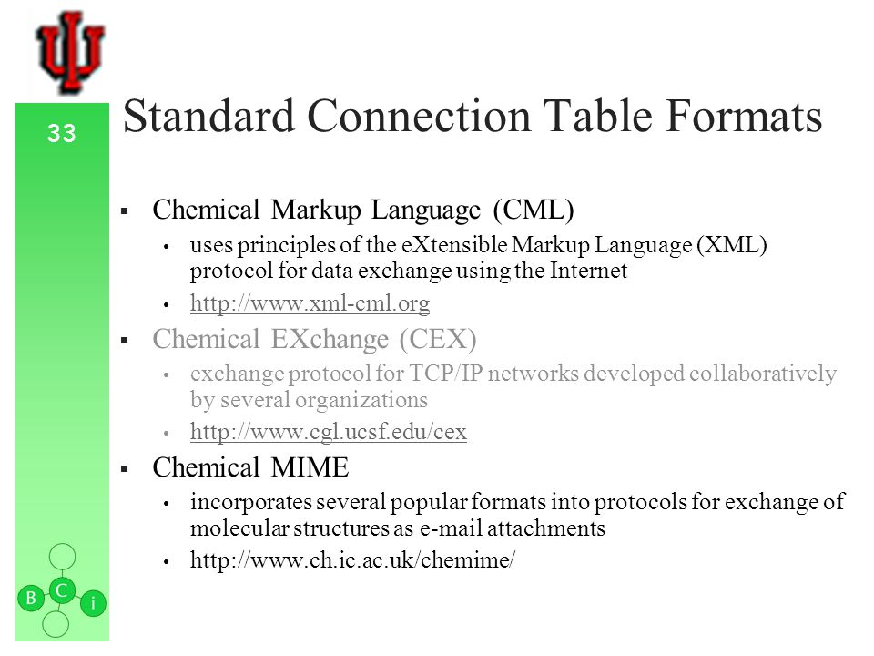 33 Standard Connection Table Formats Chemical Markup Language (CML) uses principles of the eXtensible Markup Language (XML) protocol for data exchange using the Internet http://www.xml-cml.org Chemical EXchange (CEX) exchange protocol for TCP/IP networks developed collaboratively by several organizations http://www.cgl.ucsf.edu/cex Chemical MIME incorporates several popular formats into protocols for exchange of molecular structures as e-mail attachments http://www.ch.ic.ac.uk/chemime/