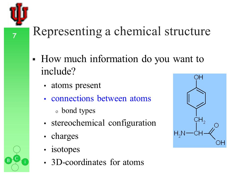 8 Representing a chemical structure How much information do you want to include.