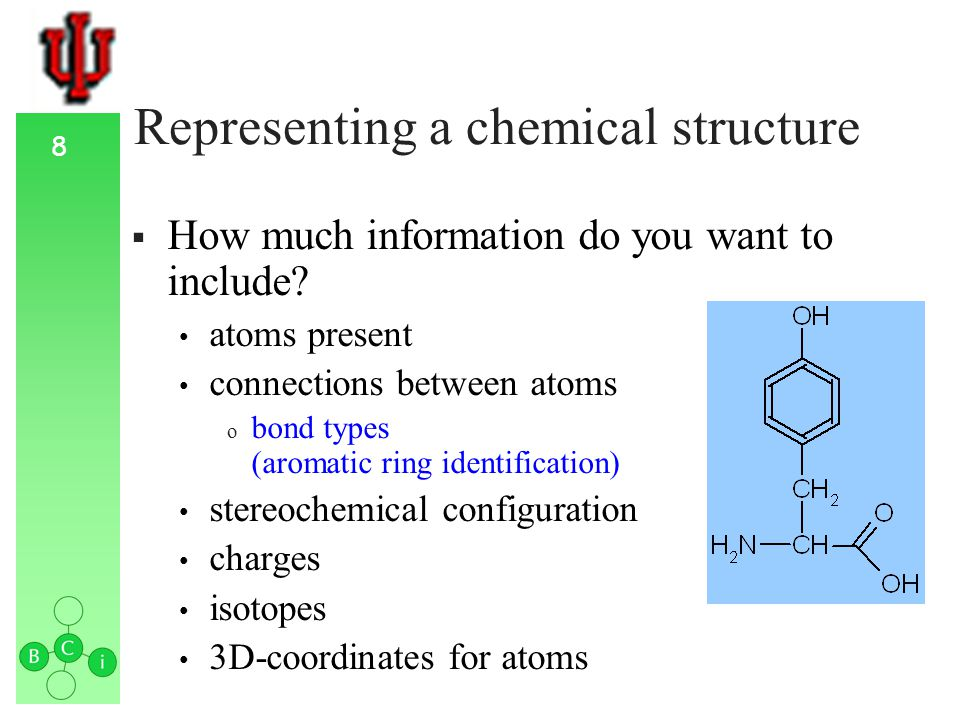 9 Representing a chemical structure How much information do you want to include.