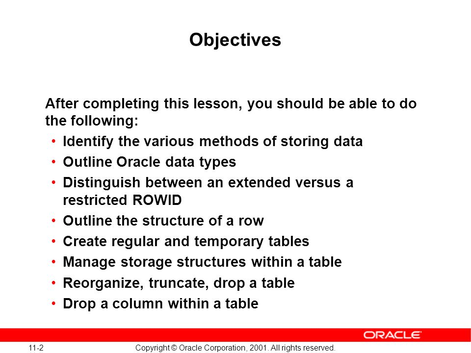 11-23 Copyright © Oracle Corporation, 2001. All rights reserved.