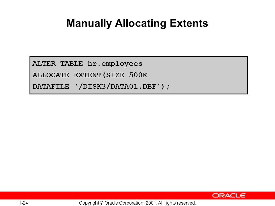 11-24 Copyright © Oracle Corporation, 2001. All rights reserved. Manually Allocating Extents ALTER TABLE hr.employees ALLOCATE EXTENT(SIZE 500K DATAFI