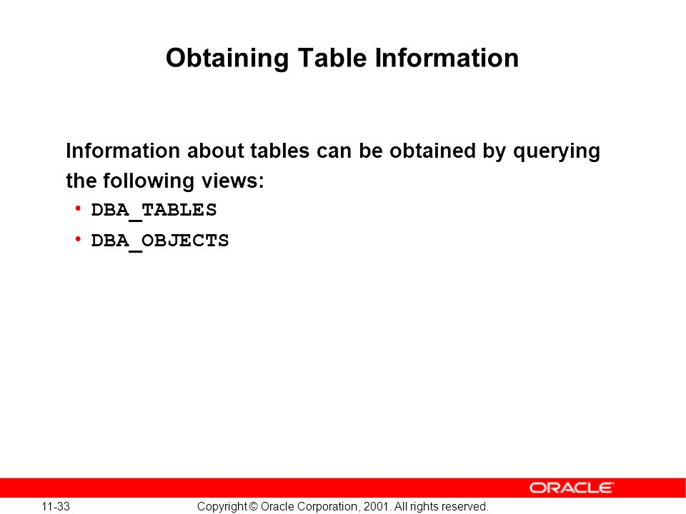 11-33 Copyright © Oracle Corporation, 2001. All rights reserved. Obtaining Table Information Information about tables can be obtained by querying the
