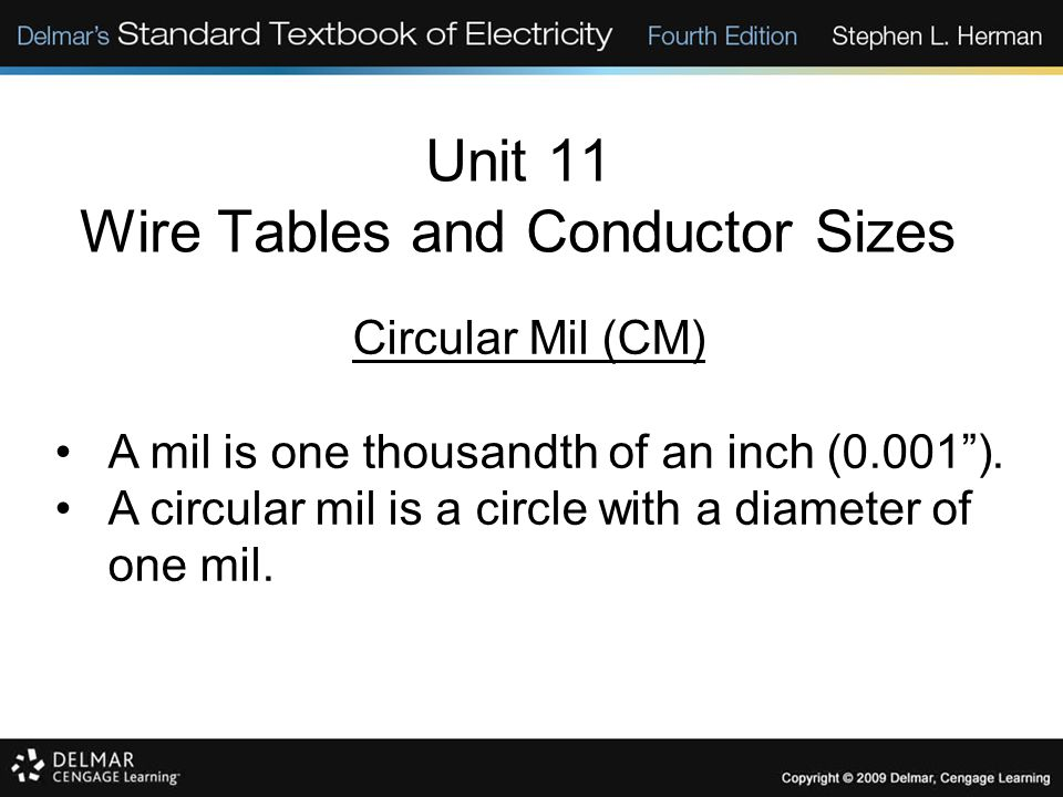 Circular Mil (CM) A mil is one thousandth of an inch (0.001). A circular mil is a circle with a diameter of one mil.