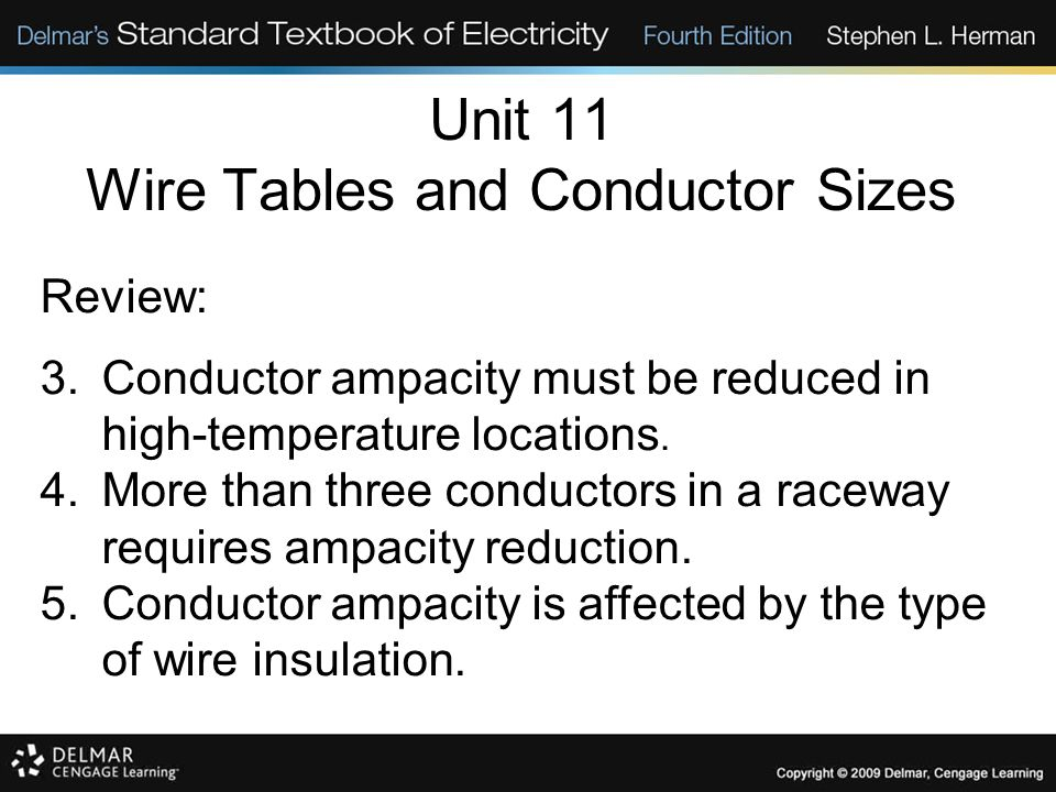 Unit 11 Wire Tables and Conductor Sizes Review: 3.Conductor ampacity must be reduced in high-temperature locations. 4.More than three conductors in a