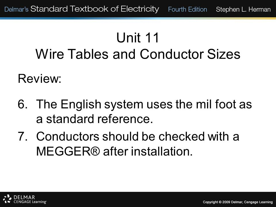 Unit 11 Wire Tables and Conductor Sizes Review: 6.The English system uses the mil foot as a standard reference. 7.Conductors should be checked with a