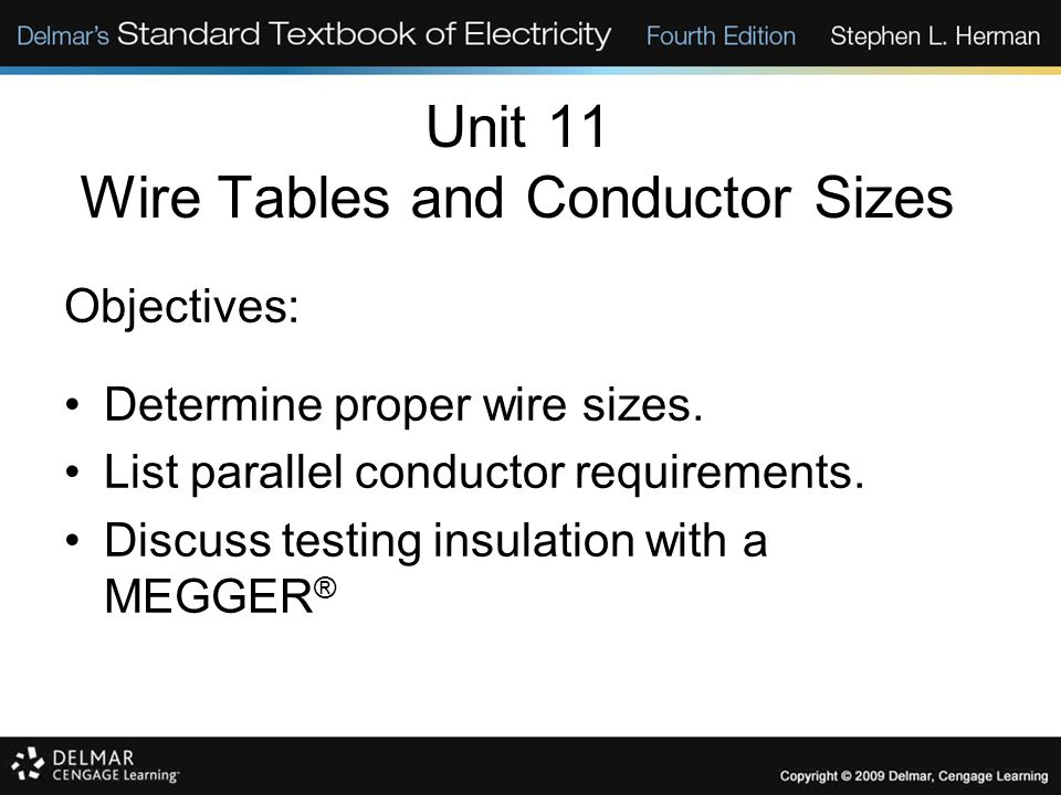 Unit 11 Wire Tables and Conductor Sizes Objectives: Determine proper wire sizes. List parallel conductor requirements. Discuss testing insulation with