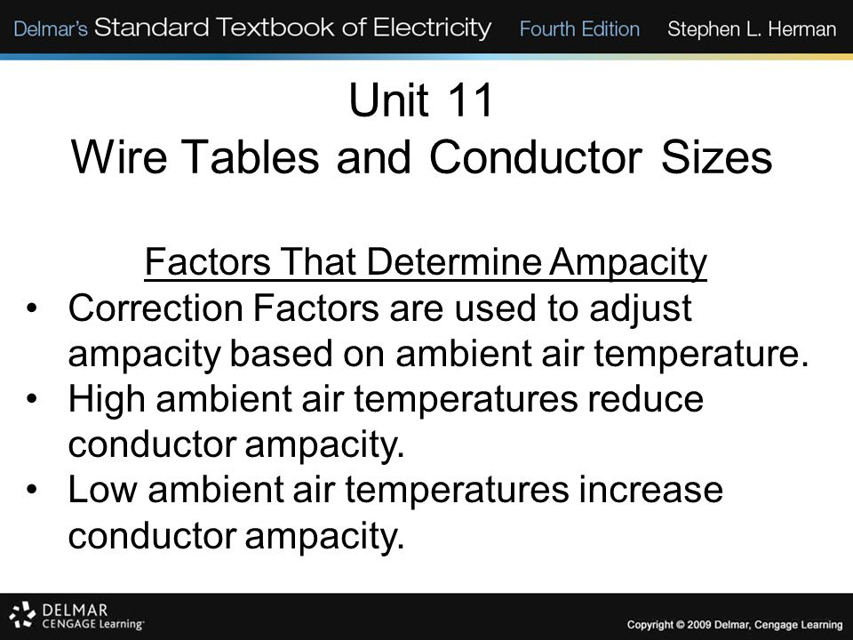 Unit 11 Wire Tables and Conductor Sizes Factors That Determine Ampacity Correction Factors are used to adjust ampacity based on ambient air temperatur