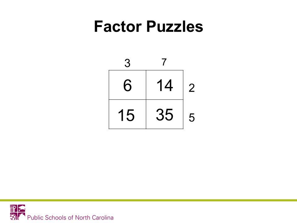614 35 3 7 2 5 Factor Puzzles 15