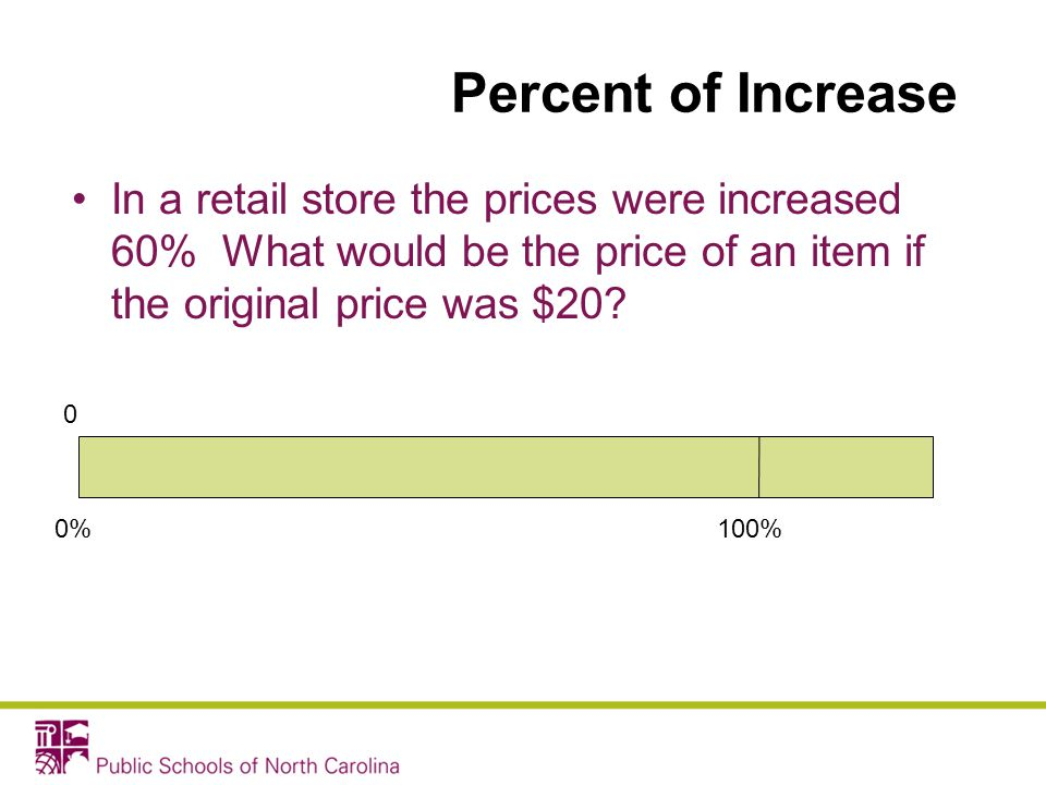 Percent of Increase In a retail store the prices were increased 60% What would be the price of an item if the original price was $20? 0%100% 0