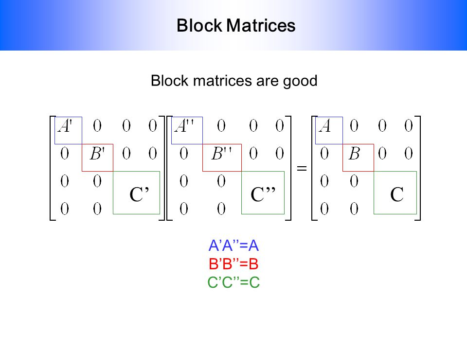 Block Matrices If a matrix representing a symmetry operation is transformed into block diagonal form then each little block is also a representation of the operation since they obey the same multiplication laws.