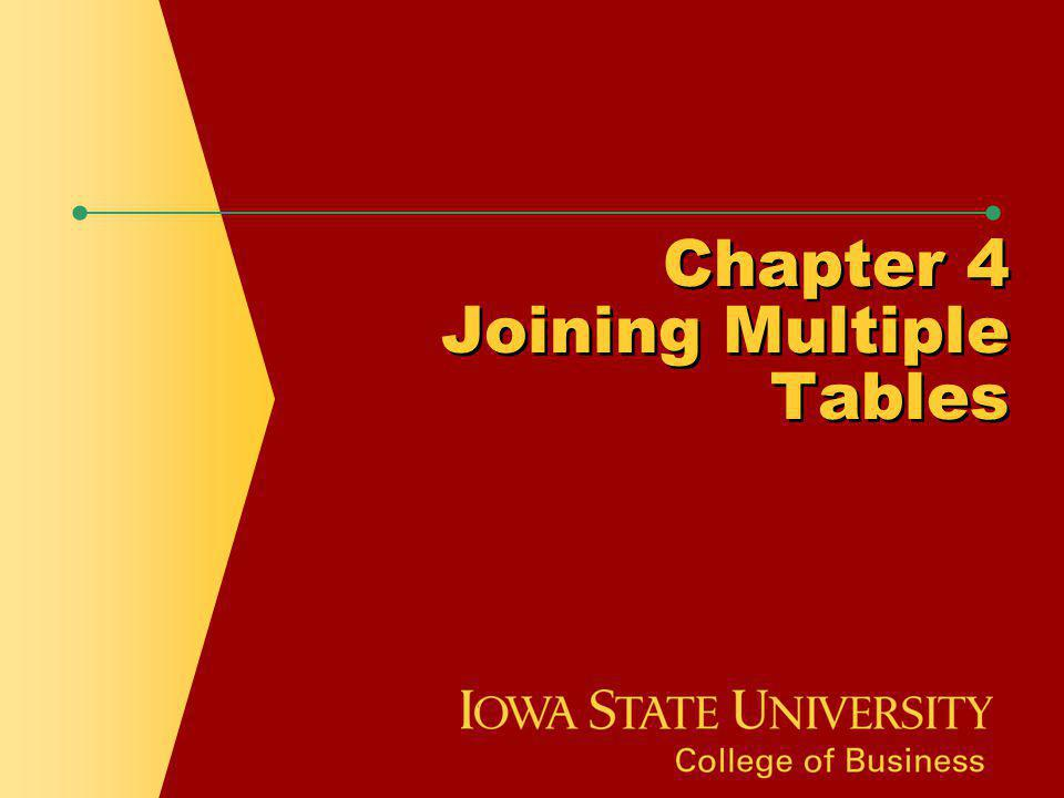 Chapter 4 Joining Multiple Tables