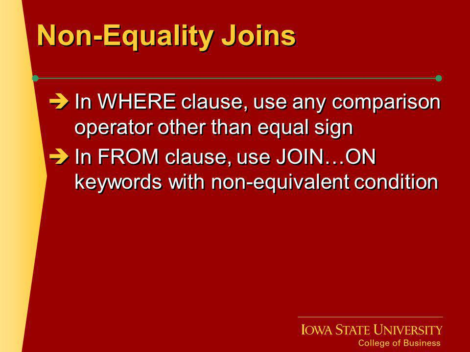Non-Equality Join: WHERE Clause Example