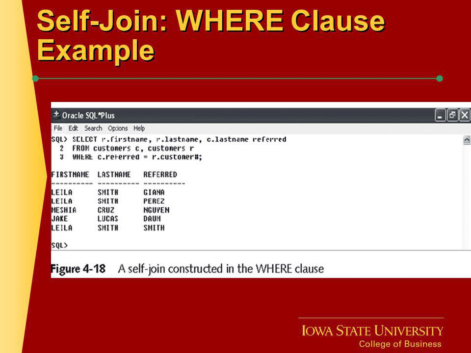 Self-Join: WHERE Clause Example