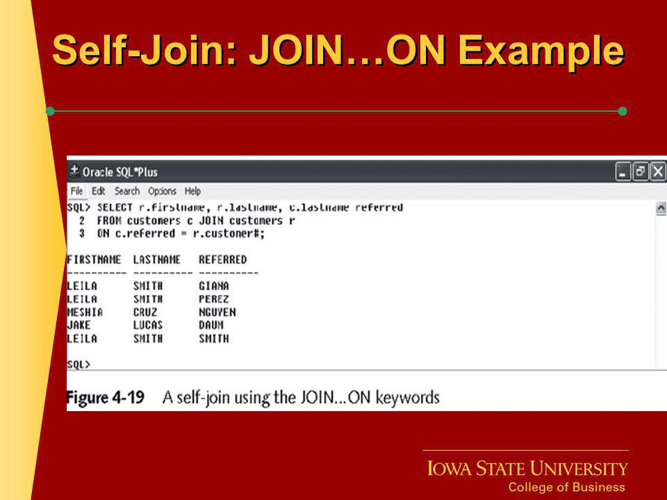 Self-Join: JOIN…ON Example