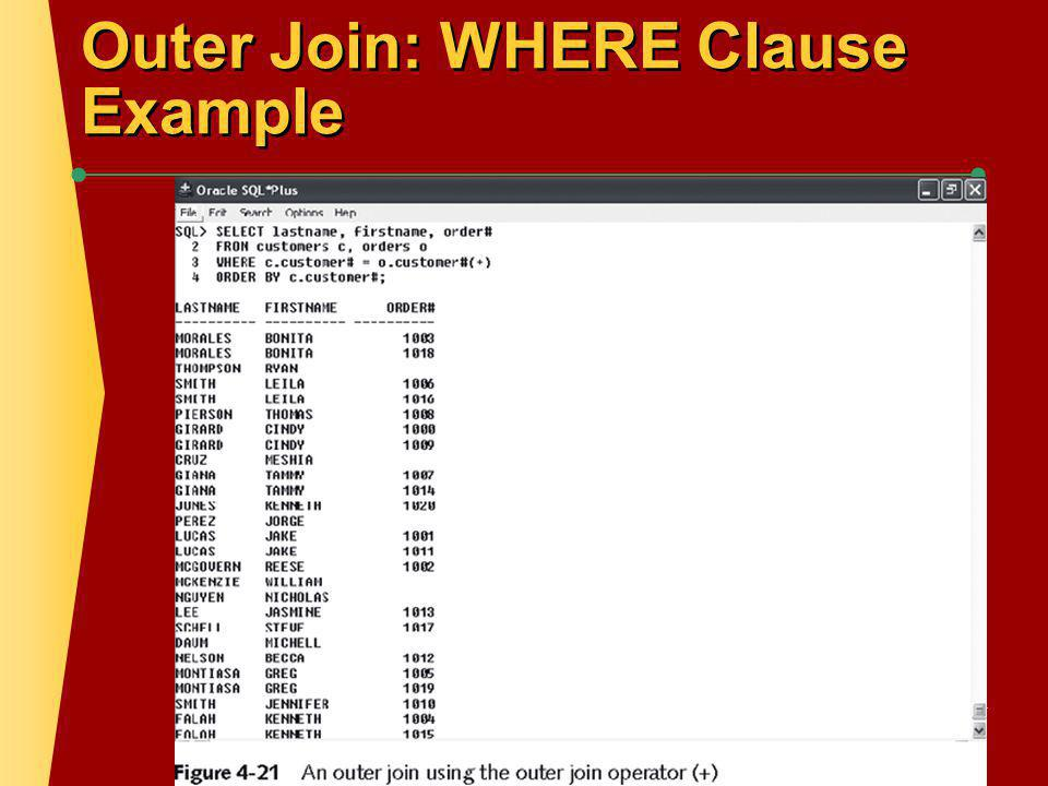 Outer Join: OUTER JOIN Keyword Example