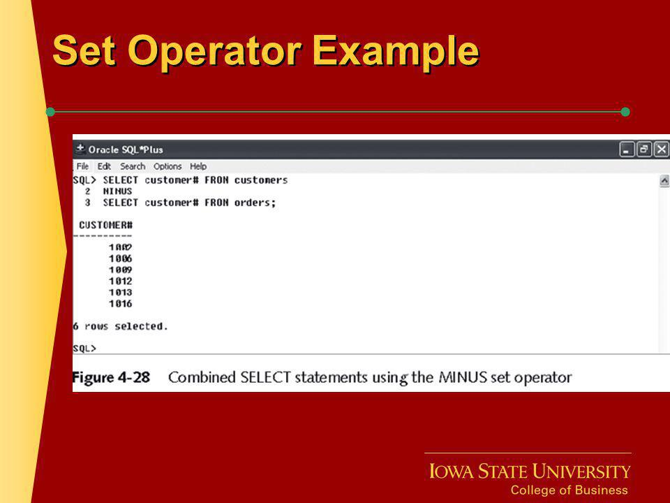 Set Operator Example