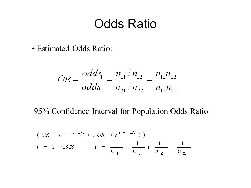 Odds Ratio Estimated Odds Ratio: 95% Confidence Interval for Population Odds Ratio