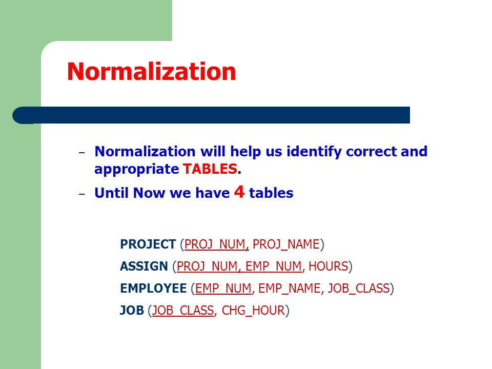 – We are going to identify the relationships between entities (tables) including their cardinality, connectivity.