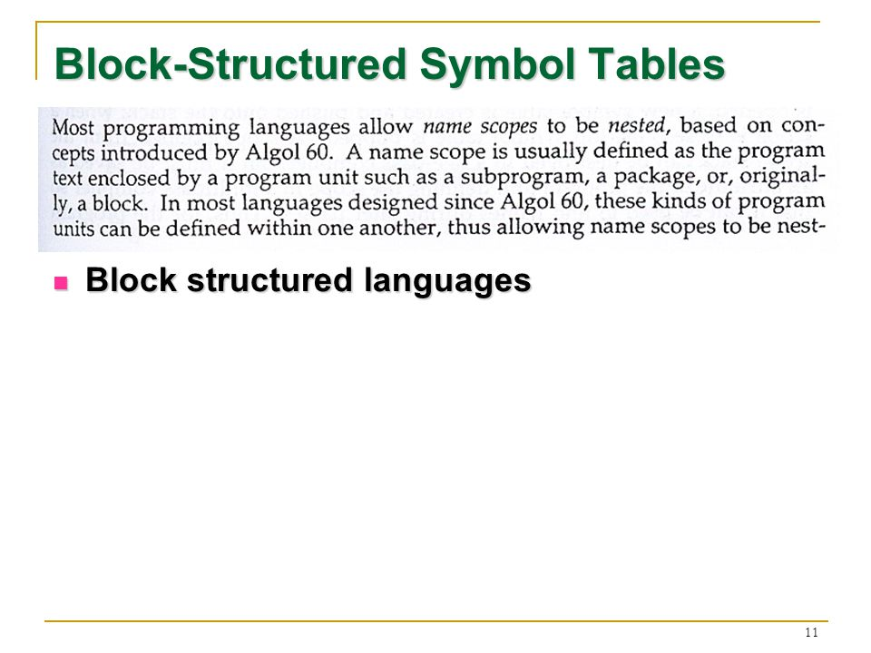 11 Block-Structured Symbol Tables Block structured languages Block structured languages