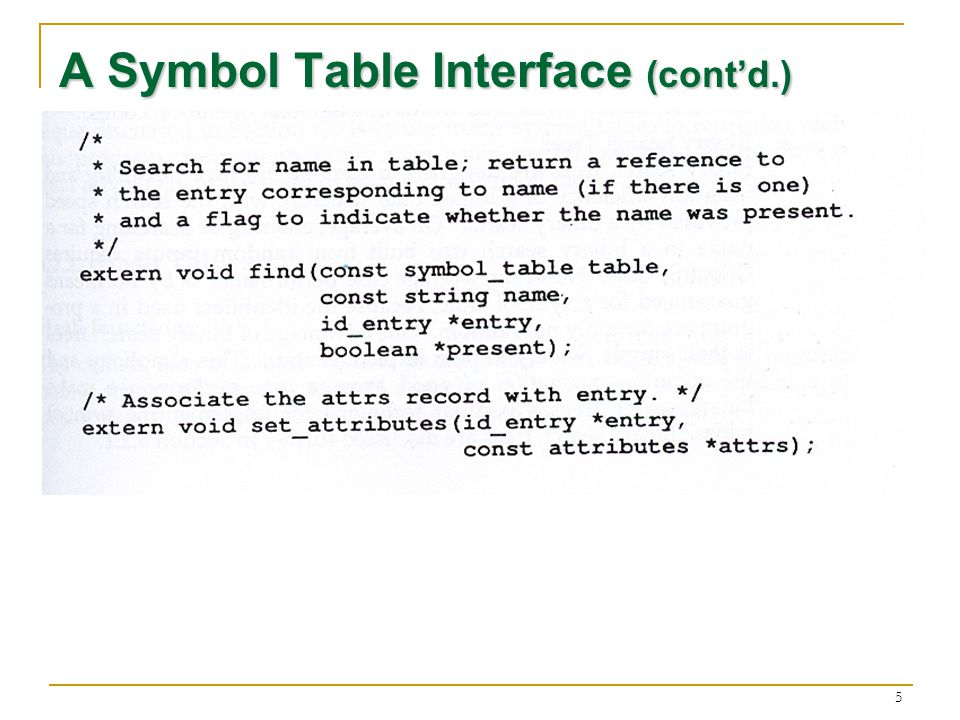 5 A Symbol Table Interface (contd.)