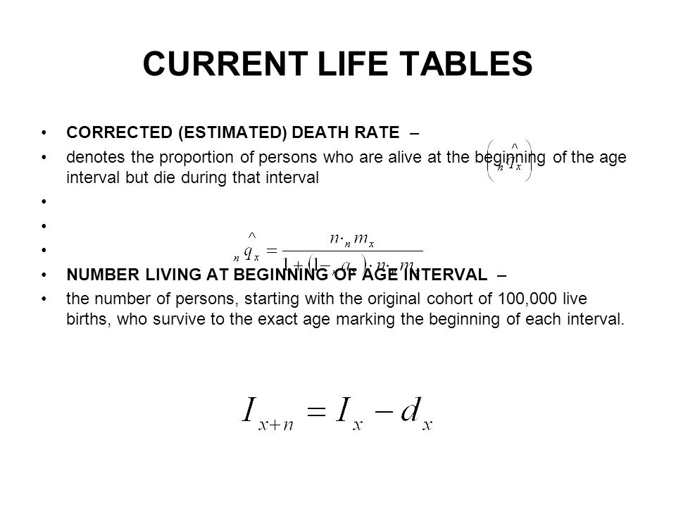 CURRENT LIFE TABLES CORRECTED (ESTIMATED) DEATH RATE – denotes the proportion of persons who are alive at the beginning of the age interval but die during that interval NUMBER LIVING AT BEGINNING OF AGE INTERVAL – the number of persons, starting with the original cohort of 100,000 live births, who survive to the exact age marking the beginning of each interval.
