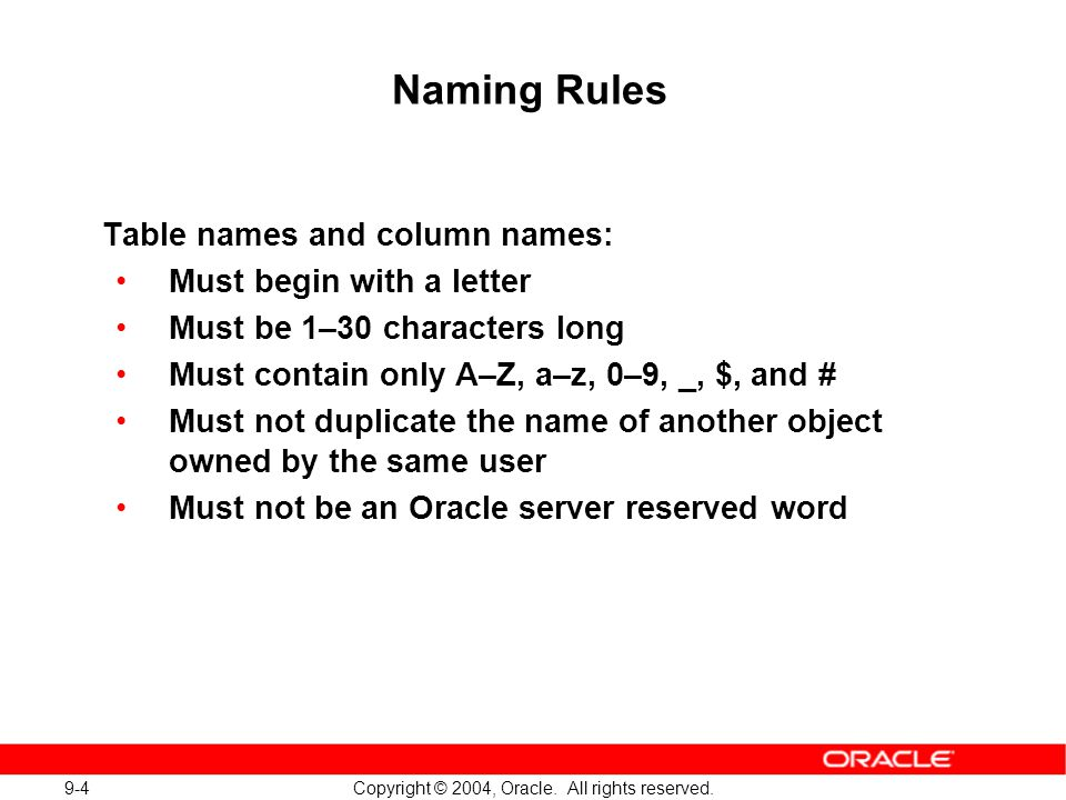 9-4 Copyright © 2004, Oracle. All rights reserved.