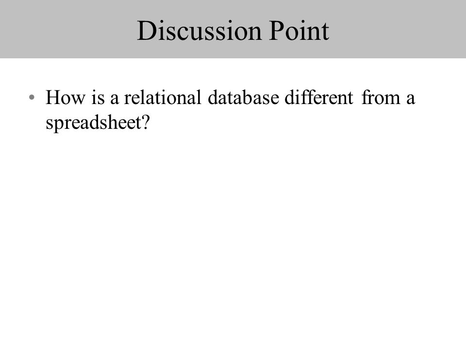 Discussion Point How is a relational database different from a spreadsheet