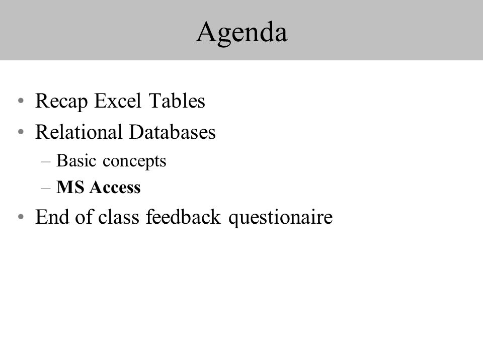 Agenda Recap Excel Tables Relational Databases –Basic concepts –MS Access End of class feedback questionaire