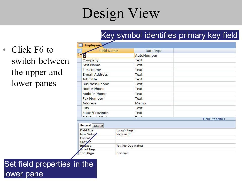 Design View Click F6 to switch between the upper and lower panes Key symbol identifies primary key field Set field properties in the lower pane