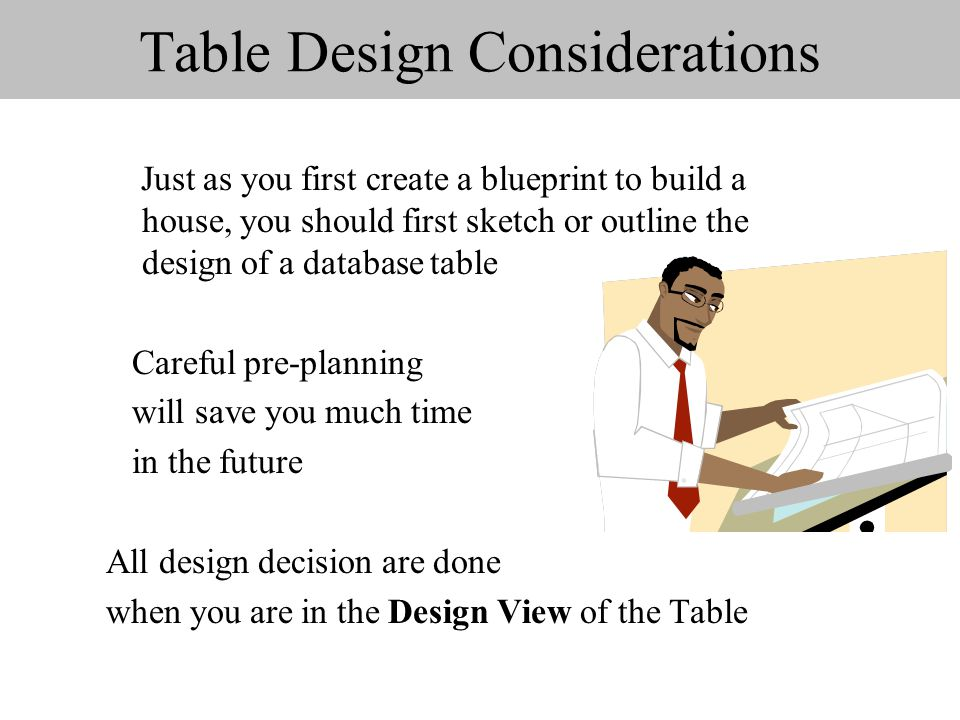 Table Design Considerations Just as you first create a blueprint to build a house, you should first sketch or outline the design of a database table Careful pre-planning will save you much time in the future All design decision are done when you are in the Design View of the Table