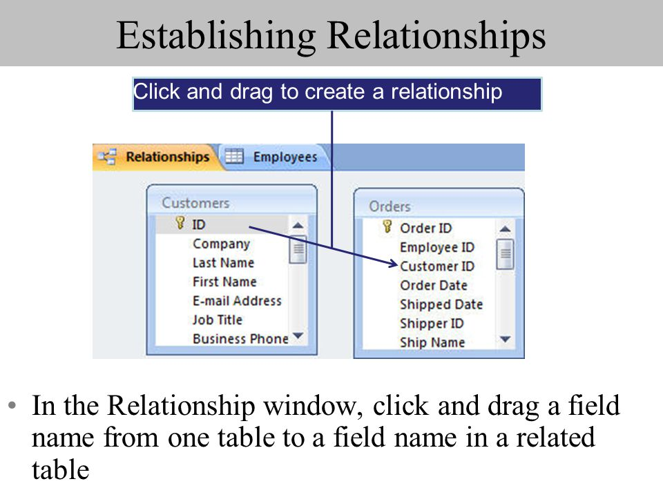 Establishing Relationships In the Relationship window, click and drag a field name from one table to a field name in a related table Click and drag to