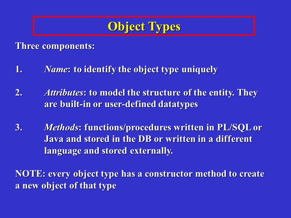 Three components: 1.Name: to identify the object type uniquely 2.