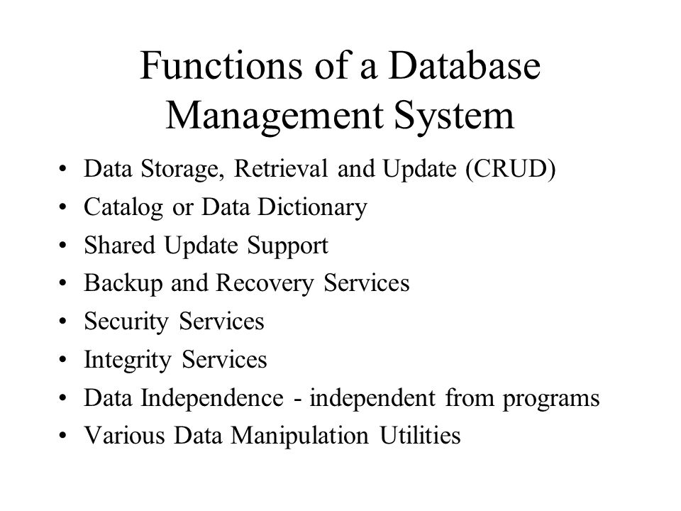 CRUD Four basic functions, for a given entity they should all be performed with few exceptions, in your system: –CREATE –READ –UPDATE –DELETE