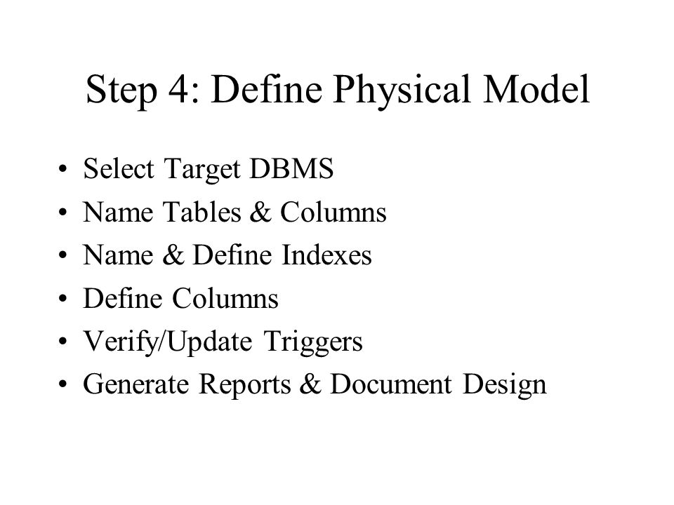Step 5: Review Final Design Verify Entities & Definitions Verify Relationships & Definitions Verify Attributes & Definitions Verify Business Constraints Approve Schema Design