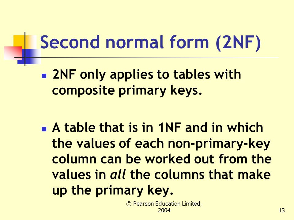 © Pearson Education Limited, Second normal form (2NF) 2NF only applies to tables with composite primary keys.