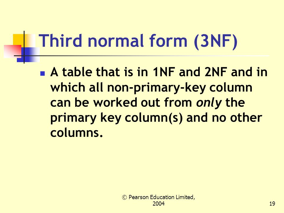 © Pearson Education Limited, Third normal form (3NF) A table that is in 1NF and 2NF and in which all non-primary-key column can be worked out from only the primary key column(s) and no other columns.