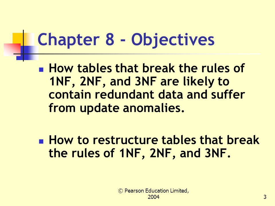 © Pearson Education Limited, Chapter 8 - Objectives How tables that break the rules of 1NF, 2NF, and 3NF are likely to contain redundant data and suffer from update anomalies.