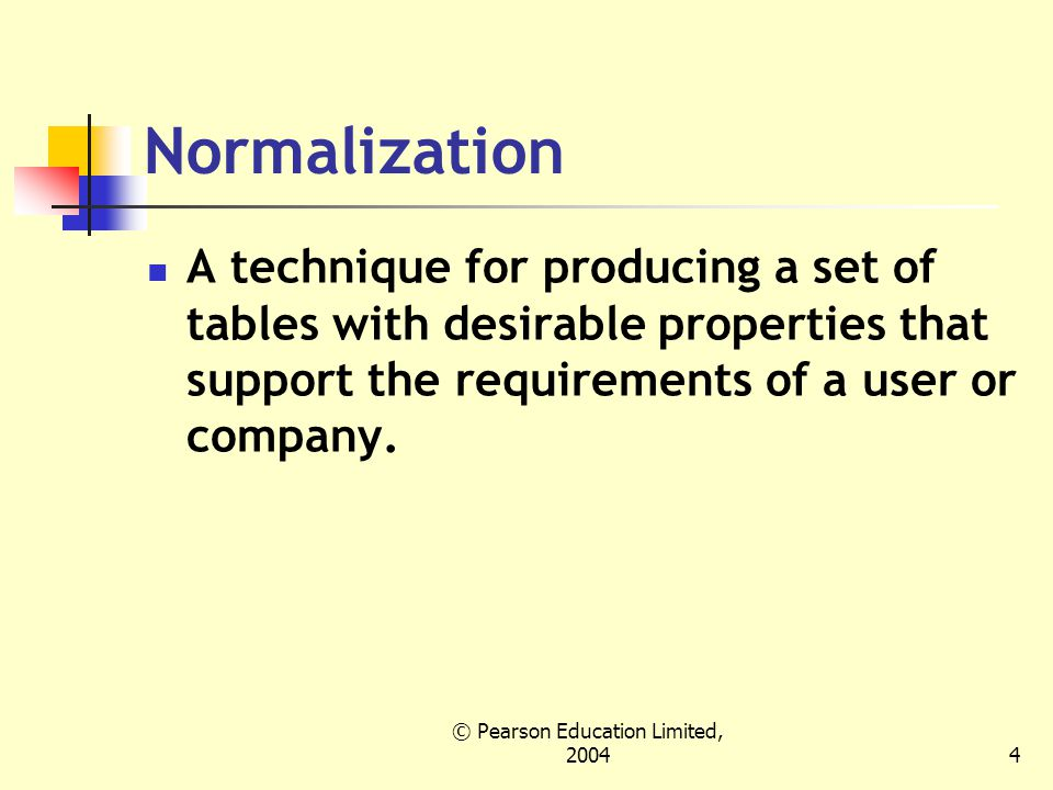 © Pearson Education Limited, 20045 Data redundancy and update anomalies Major aim of relational database design is to group columns into tables to minimize data redundancy and reduce file storage space required by base tables.