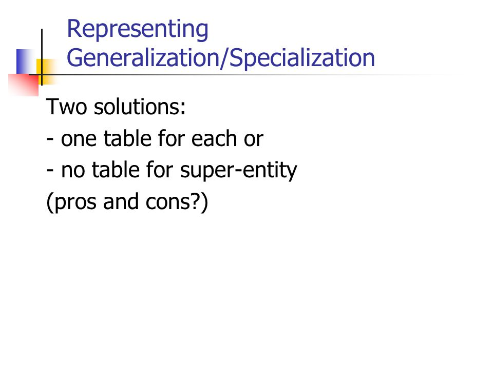 Representing Generalization/Specialization Two solutions: - one table for each or - no table for super-entity (pros and cons?)