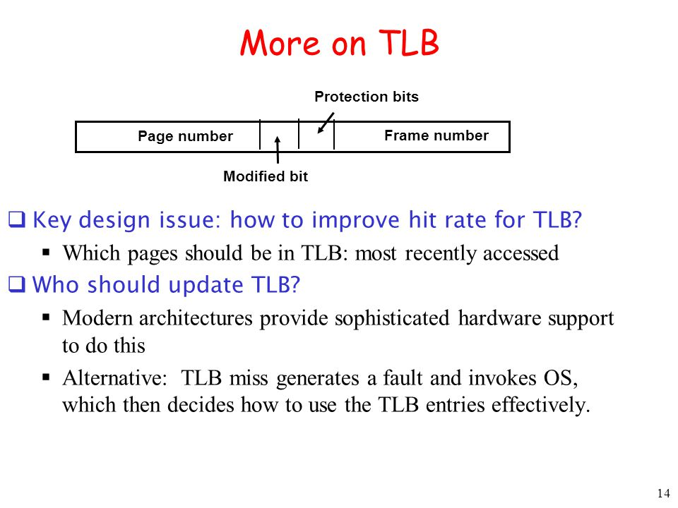14 More on TLB Key design issue: how to improve hit rate for TLB.