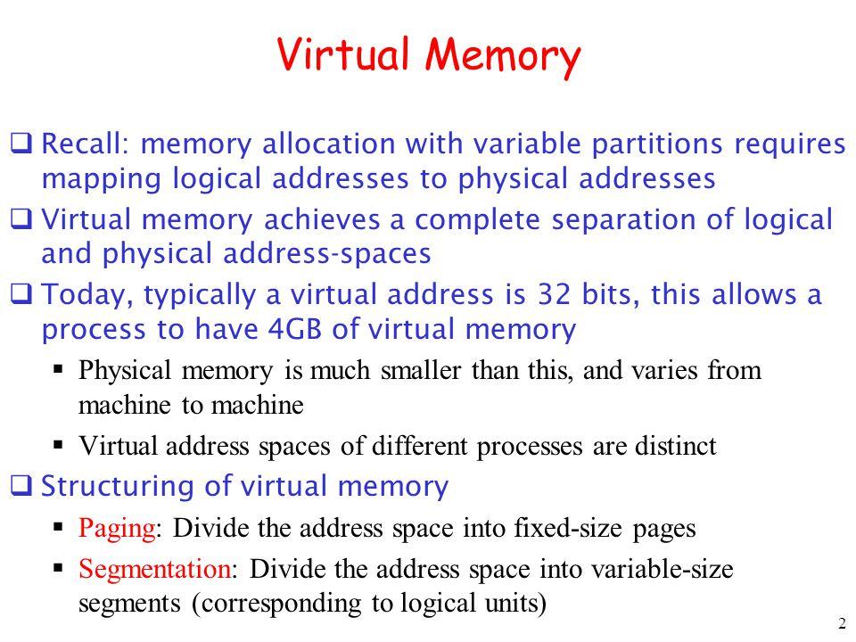 63 Multics: Segmentation+ Paging Physical address: (f,o) Segment # Page # 18 bits Offset 6 bits 10 bits sp o Segment Table base addr b Length l base +s base Base + 2 18 At most 64 Page Table for segment s Valid Frame number f b0 6 +p b0 6 Check p <= l