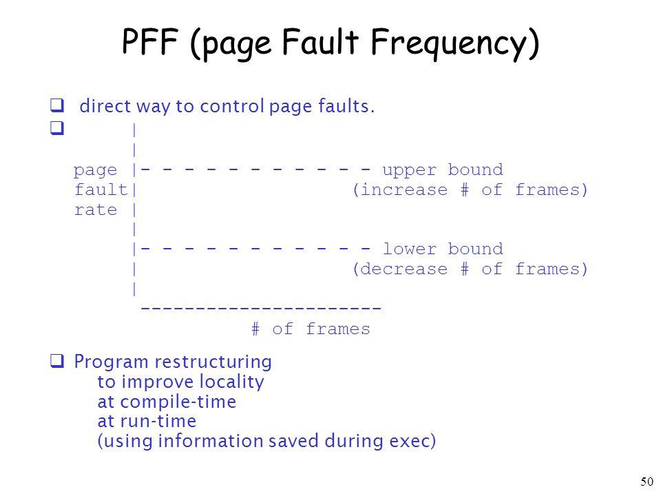 50 PFF (page Fault Frequency) direct way to control page faults.