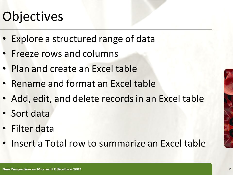 XP Objectives Explore a structured range of data Freeze rows and columns Plan and create an Excel table Rename and format an Excel table Add, edit, an