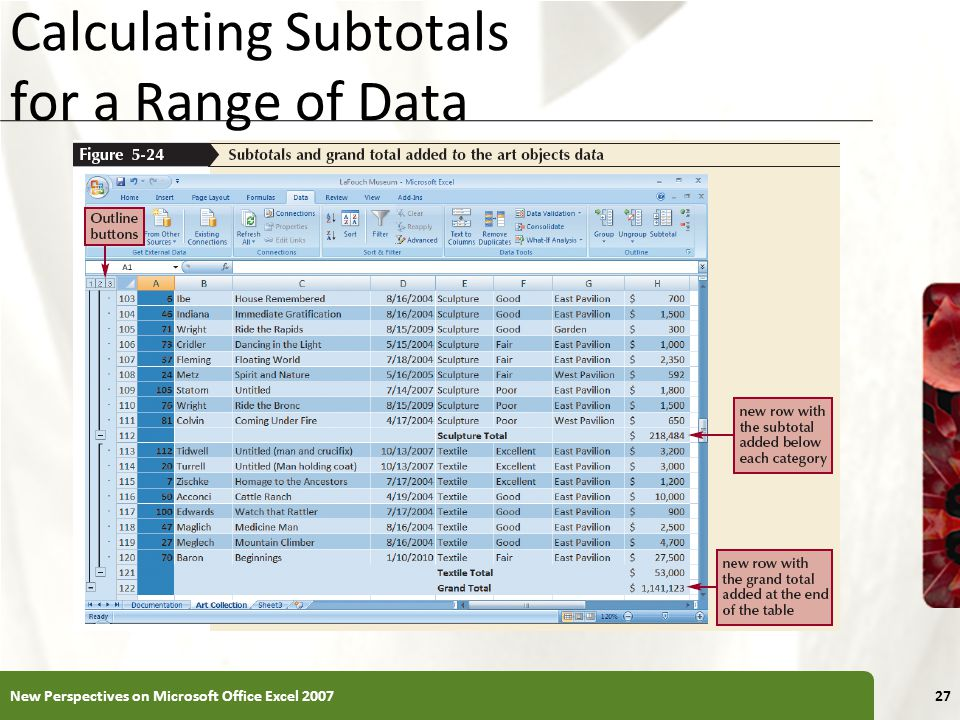 XP Calculating Subtotals for a Range of Data New Perspectives on Microsoft Office Excel 200727