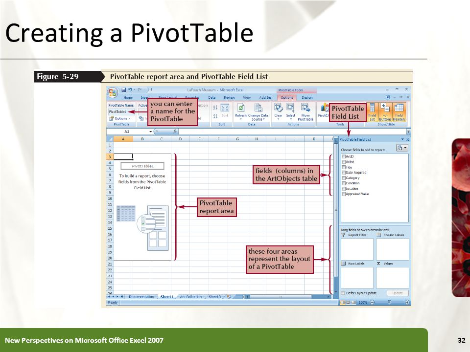 XP Creating a PivotTable New Perspectives on Microsoft Office Excel 200732
