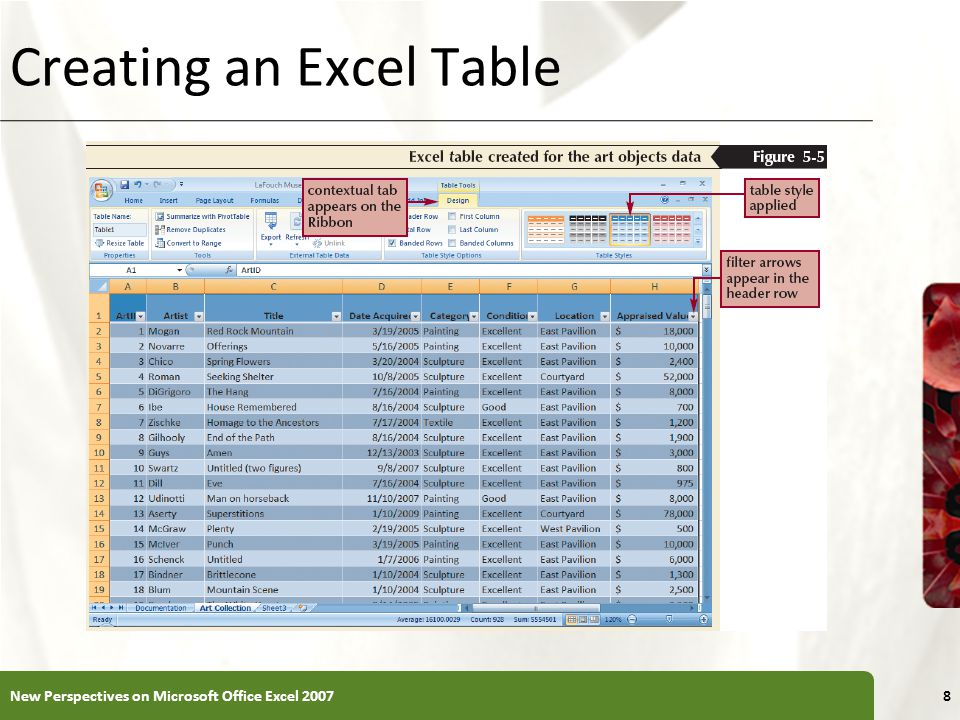XP Creating an Excel Table New Perspectives on Microsoft Office Excel 20078