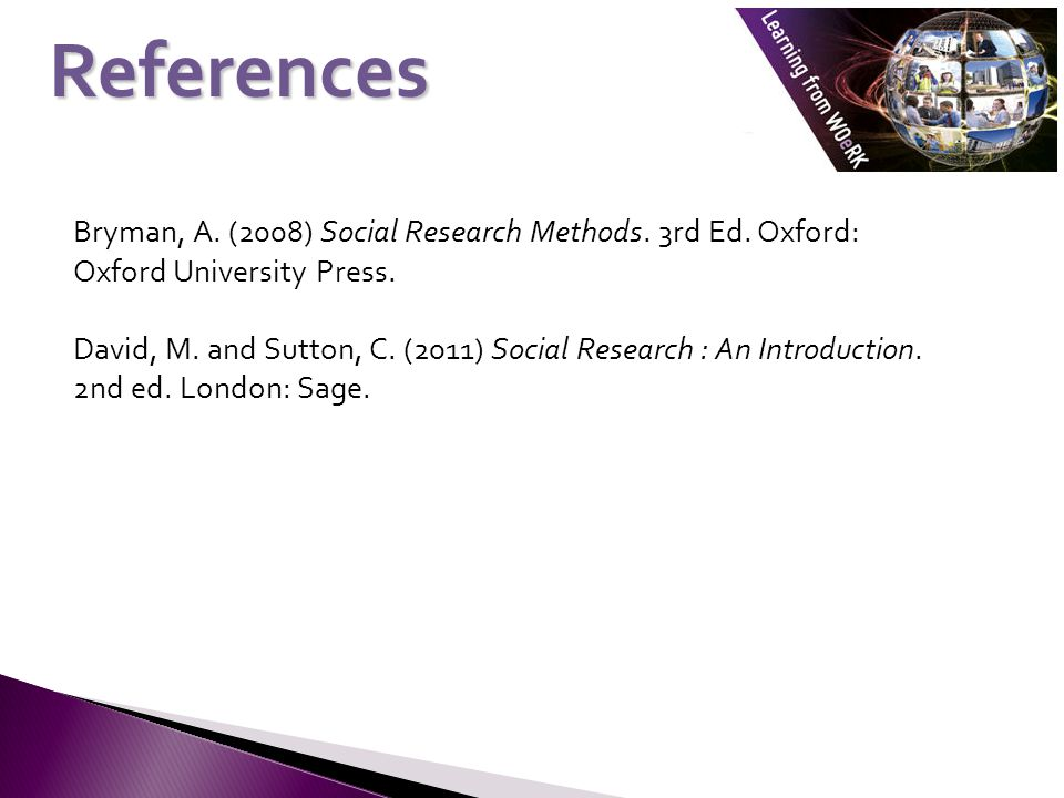 Bryman, A. (2008) Social Research Methods. 3rd Ed.