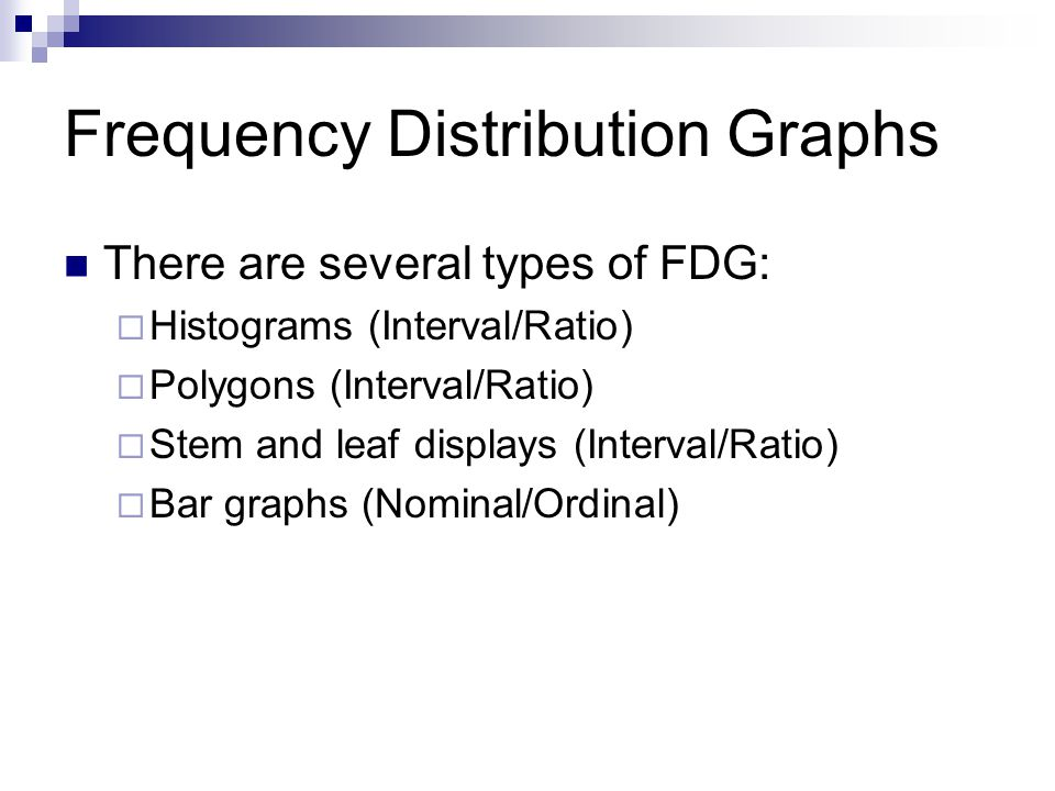 Frequency Distribution Graphs There are several types of FDG: Histograms (Interval/Ratio) Polygons (Interval/Ratio) Stem and leaf displays (Interval/Ratio) Bar graphs (Nominal/Ordinal)