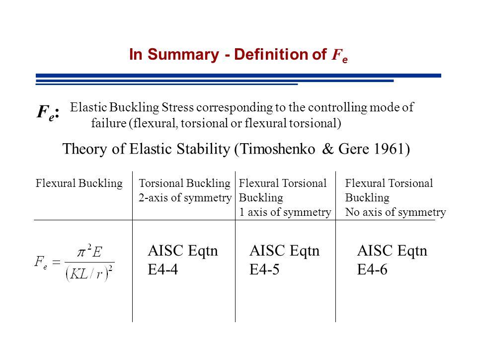 Alingnment Charts & Inelastic Behavior SRF: Table 4-21 AISC Manual pp 4-317 Stiffness Reduction Factor Elastic Inelastic